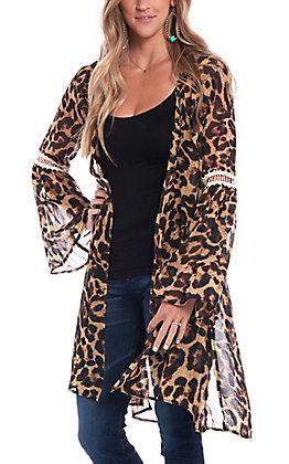 Southern Grace Women's Leopard Print & Lace Kimono
