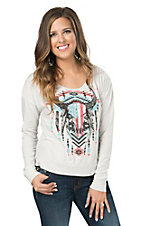 Rock & Roll Cowgirl Women's Cream with Rhinestud Indian Steerhead Skull Long Sleeve Pullover
