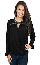 Rock & Roll Cowgirl Women's Black Faux Wrap Blouse with Studded Neckline Long Sleeve Blouse