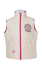 Cowgirl Hardware Girls Cream with Pink Accents Sleeveless Quilted Vest