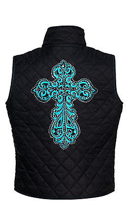 Cowgirl Hardware Girl's Black with Turquoise Steel Cross Quilted Vest