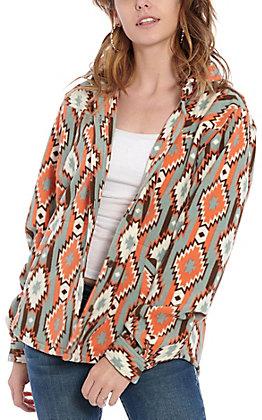 Outback Trading Co. Women's Orange Aztec Print Shirt Jacket