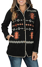 Outback Trading Company Women's Black with Aztec Embroidery Long Sleeve Fleece Jacket