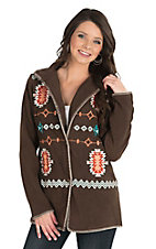 Outback Trading Company Women's Chocolate with Aztec Embroidery Long Sleeve Fleece Jacket