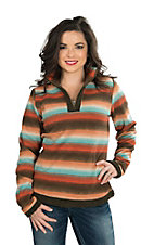 Outback Trading Company Women's Striped Pull Over Fleece Jacket