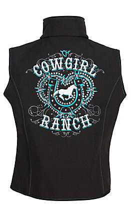Cowgirl Hardware Girls' Heather Chocolate Brown with Turquoise and White Cowgirl Ranch Soft Shell Vest