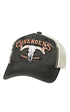 Cavenders Distressed Black with 3D Logo & Cream Mesh Trucker Cap