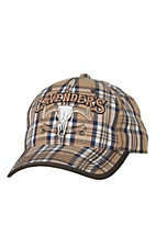 Cavender's Tan, Navy, Brown & White Plaid with 3D Logo Cap