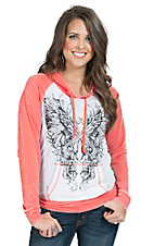 Rock & Roll Cowgirl Women's White and Coral Hooded Pullover with Guns and Wings