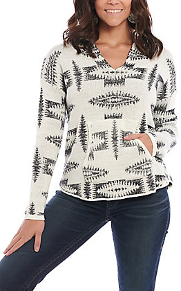 Rock & Roll Cowgirl Women's Black and White Southwestern Print Knit Hoodie