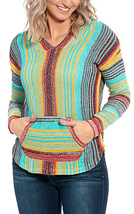 Rock & Roll Cowgirl Women's Turquoise Multi Striped Pull Over Hooded Shirt