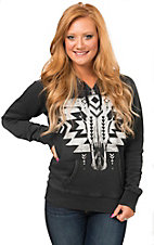 Rock & Roll Cowgirl Women's Vintage Black with White Aztec Steerhead Hooded Sweatshirt