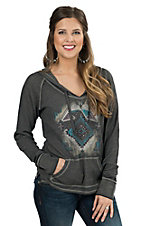 Rock & Roll Cowgirl Women's Grey with Aztec Print Long Sleeve Thermal Hoody Tee