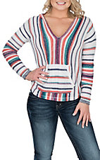 Rock & Roll Cowgirl Women's Multi-Color Stripe Light Knit Fashion Top