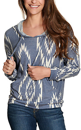 Rock & Roll Cowgirl Women's Blue with White Aztec Hooded Long Sleeve Knit Tee