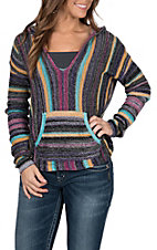Rock and Roll Cowgirl Women's Striped Pull Over Hoodie Sweater
