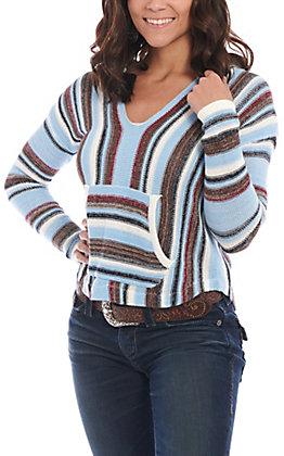 Rock & Roll Cowgirl Women's Blue Multi Striped Sweater Knit Hoodie