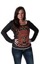 Rock & Roll Cowgirl Women's Skull and Headdress Screen Print Sweatshirt