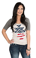 Rock & Roll Cowgirl Women's Grey with Stars and Stripes Screen Print Cap Sleeve Casual Knit Top