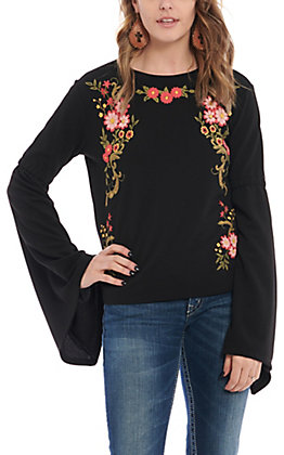 Rock & Roll Cowgirl Women's Black Floral Embroidered Fashion Top