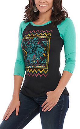 Rock & Roll Cowgirl Women's Black & Turquoise Aztec Bronc Rider Casual Knit Top