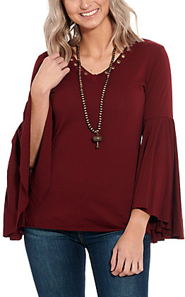 Rock & Roll Cowgirl Maroon Long Bell Sleeve Fashion Top