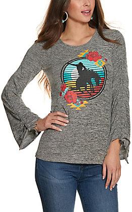 Rock & Roll Cowgirl Women's Heather Grey Bronco Graphic Drawstring Long Sleeve T-Shirt