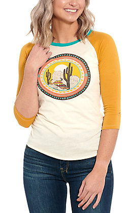 Rock & Roll Cowgirl White & Mustard Cactus Graphic Baseball Tee