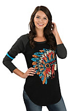Rock & Roll Cowgirl Women's Black Indian Print Varsity Tee