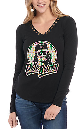 Rock & Roll Cowgirl Women's Black Dale Brisby Long Sleeve Top