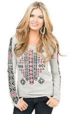 Rock & Roll Cowgirl Women's Heather Grey with Aztec Rhinestone Design Long Sleeve Tee
