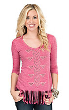 Rock & Roll Cowgirl Women's Burnout Pink with Rhinestone Aztec & Fringe 3/4 Sleeve Casual Knit Shirt