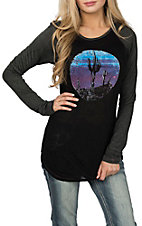 Rock & Roll Cowgirl Women's Black Cactus Moon L/S Casual Knit Shirt
