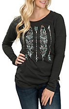Rock & Roll Cowgirl Women's Black Feather Print Drop Shoulder Casual Knit Shirt