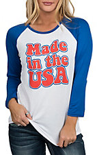 Rock & Roll Cowgirl Women's White, Blue and Red Made in USA Baseball Tee Casual Knit Shirt