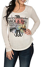 Rock & Roll Cowgirl Women's Cream Rock & Roll Graphic L/S Casual Knit Shirt