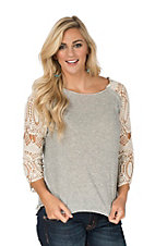 Rock & Roll Cowgirl Women's Terry Grey Long Crochet Lace Sleeve Pullover Casual Knit Shirt