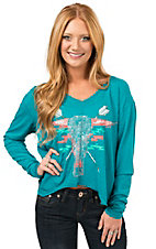 Rock & Roll Cowgirl Women's Turquoise Skull & Arrows Long Dolman Sleeve Casual Knit Top