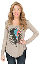 Rock & Roll Cowgirl Women's Tan & Gold Glitter with Indian Headdress Long Sleeve Drape Top