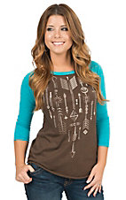 Panhandle Women's Brown with Aztec Graphic 3/4 Turquoise Raglan Sleeve Tee