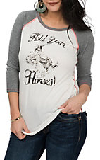 Rock & Roll Cowgirl White and Grey Hold Your Horses 3/4 Sleeve Casual Knit Shirt