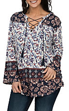 Rock & Roll Cowgirl Women's White and Navy Floral 3/4 Sleeve Lace Up Fashion Shirt