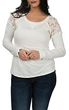 Rock & Roll Cowgirl Women's White L/S w/ Lace Inserts Casual Knit Shirt