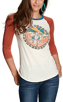 Rock & Roll Cowgirl Women's Cream with Cactus Design and Rust 3/4 Sleeves Graphic Tee