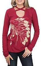 Rock and Roll Cowgirl Women's Red Crossed Neck with Indian Top