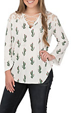 Rock & Roll Cowgirl Women's White with Cactus Print and Lace Long Sleeve Casual Knit Top