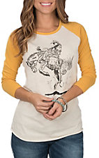 Rock & Roll Cowgirl Women's Cream and Mustard Baseball Bucking Horse 3/4 Sleeve Casual Knit Tee