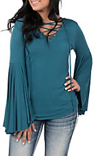 Rock & Roll Cowgirl Women's Solid Turquoise Bell Sleeve Fashion Top