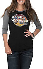Rock & Roll Cowgirl Women's Black and Grey Honky Tonkin' 3/4 Baseball Sleeves Casual Knit Tee