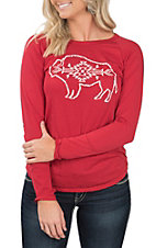 Rock & Roll Cowgirl Women's Long Sleeve Red Buffalo Shirt